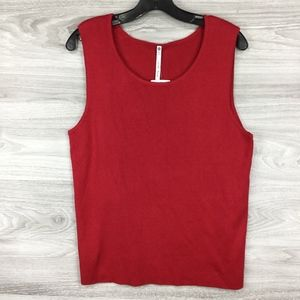 Leo & Nicole Red Ribbed Tank Top Sweater